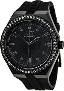 AX1217 Watch Armani Exchange Men's Classic Stainless steel case, Silicone strap, Black dial, Quartz movement, Scratch resistant mineral, Water resistant up to 5 ATM - 50 meters - 165 feet