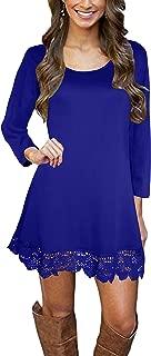 Afibi Womens Long Sleeve A Line Lace Stitching Trim Casual Dress
