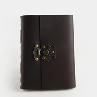 Ancicraft Leather Journal Diary Notebook A5 with Flower Vase Lock by Handmade Lined Craft Paper with Gift Box (A5-Flower vase-Lined Craft Paper)