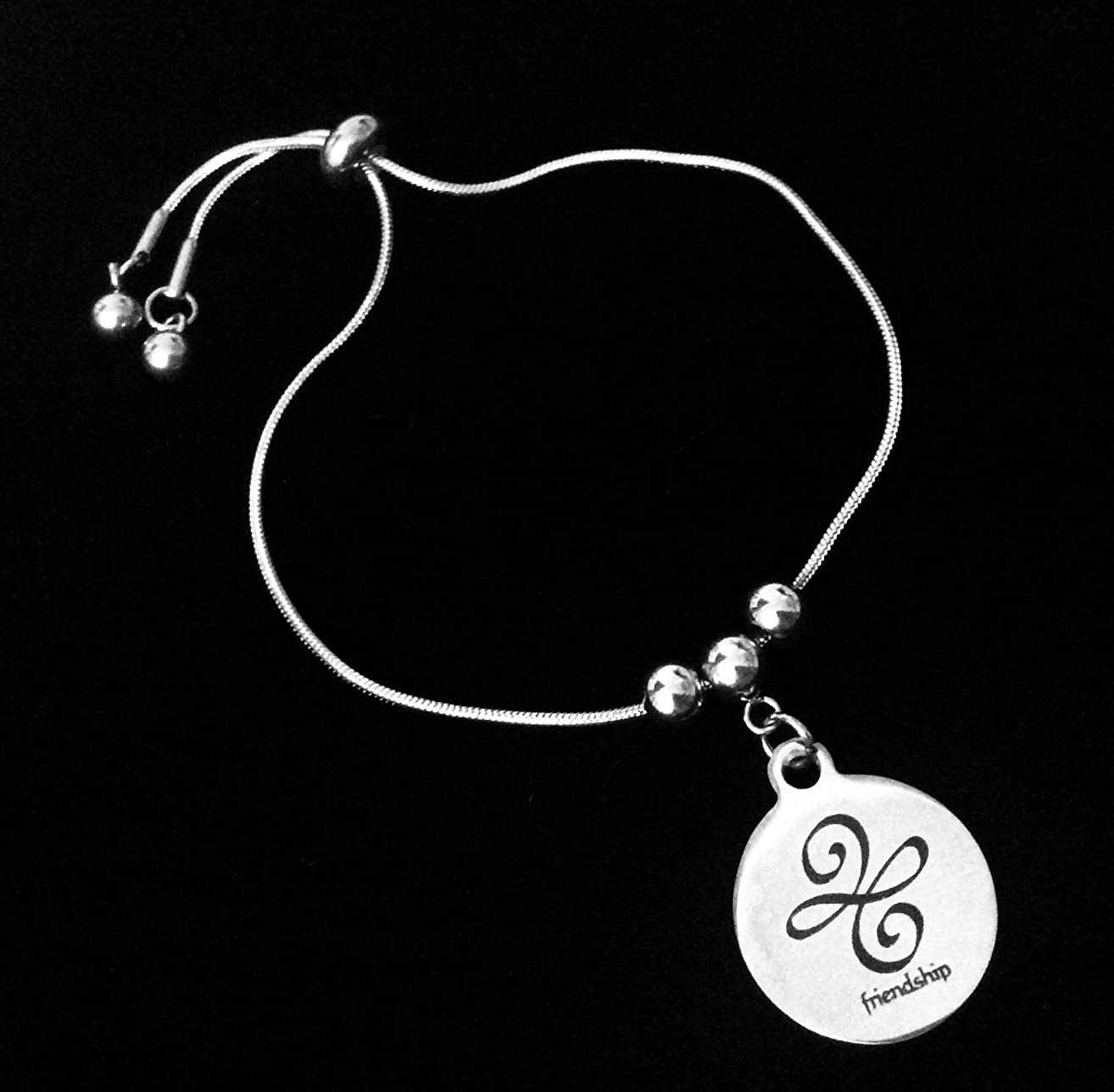 Friendship Symbol Sign Bolo Bracelet Stainless Steel Adjustable Bracelet Slider Chain One Size Fits All Gift Best Friend