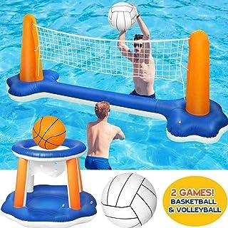 Juego de red hinchable para piscina y voleibol, juego de red flotante y baloncesto, para la piscina, 2 pelotas, para voleibol, para fiestas de verano (115 x 38 x 30 pulgadas)