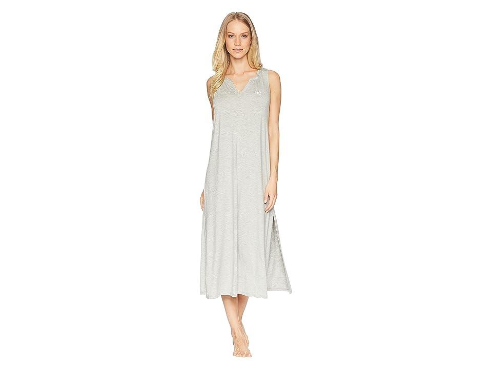 LAUREN Ralph Lauren Sleeveless Peasant Neck Ballet Gown (Grey Heather) Women