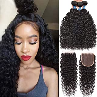 8A Brazilian Water Wave Bundles With Closure (18 20 22+16) Wet and Wavy Ocean Curly Hair..