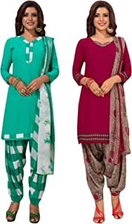 S Salwar Studio Women's Pack of 2 Synthetic Printed Unstitched Dress Material Combo-MONSOON-2860-2885