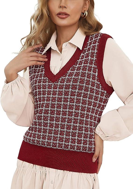80s Sweatshirts, Sweaters, Vests | Women Kate Kasin Womens Sweater Vest V Neck Plaid Sleeveless Knit Pullover Tops  AT vintagedancer.com