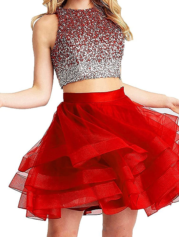 Tutu.vivi Women's Fashion Halter Two Piece Evening Party Dress Lace Short Prom Homecoming Dress