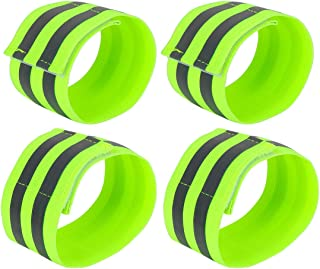 X AUTOHAUX 4pcs Reflective Bands for Wrist Ankle High Visibility Night Cycling Riding Reflector Tape Straps Bracelet Green