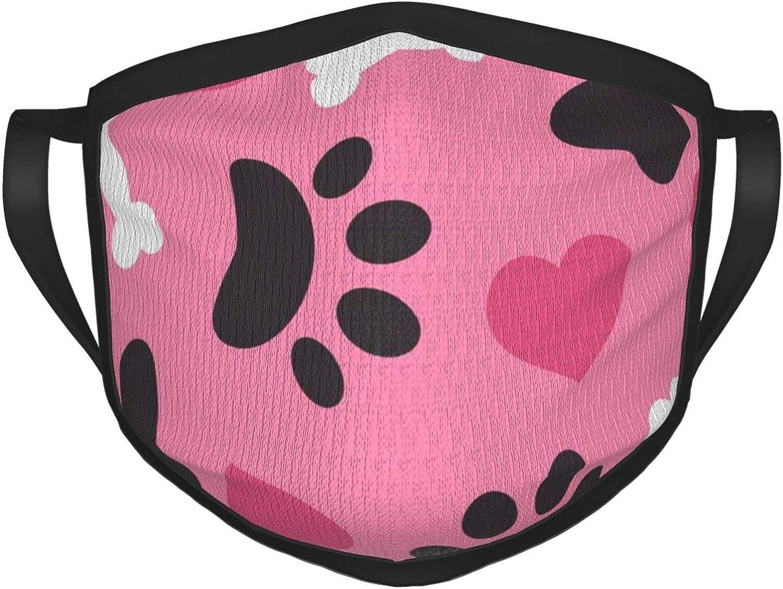 LANJYF 2 Packs Dust Mouth Wear, Dog Bone Paw Heart Unisex Face Cloth