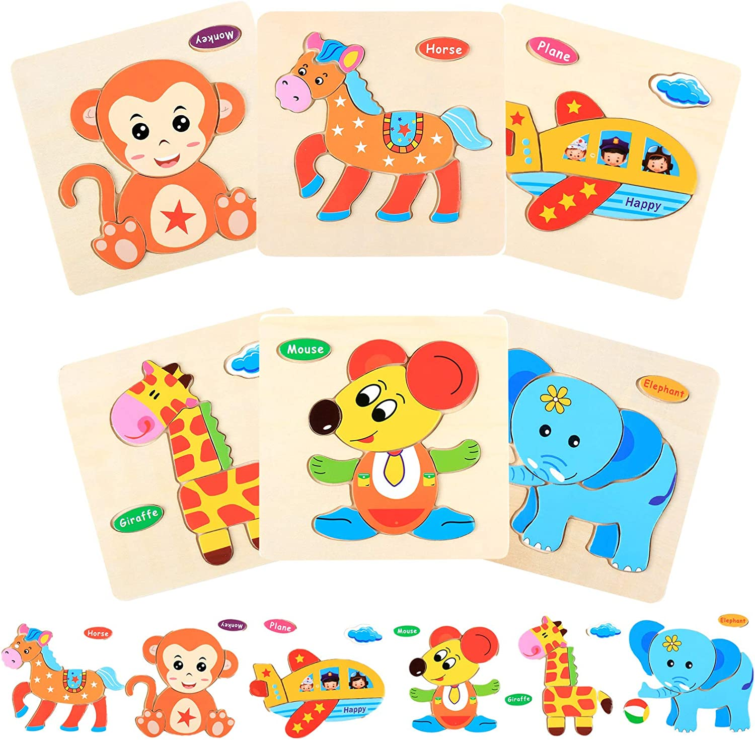 Animal Shape Jigsaw Puzzles Educational and Learning Set,Bright Vibrant Color Montessori Toy for Infant,Children Sensory Toy 6 Pack Wooden Toddler Puzzles Gift Toys for 1-3 Years Old Boys and Girls