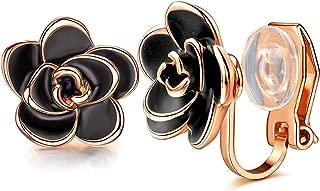 Clip on Stud Earrings for Women Fashion Black Rose Flower Hypoallergenic Non Pierced Earrings