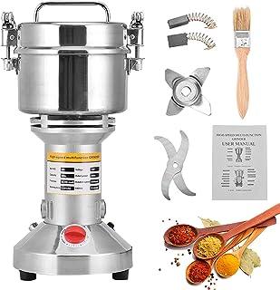 HUKOER Draagbare graanmolen, 220 V, kruidenkorrel, kruidenmolen, meelpoeder, machine, 6 mesjes, timing slijpmachine, high ...