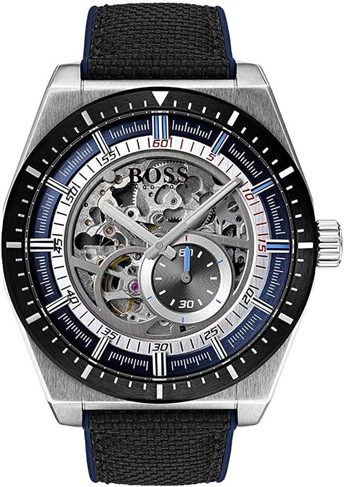Hugo boss orologio automatico  skeleton  uomo con cinturino in pelle 1513643