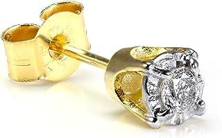 Orecchino per uomo in oro giallo 9kt con pietra preziosa 0,05ct e castone a griffe