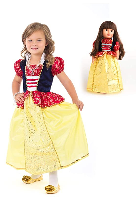 Little Adventures Snow White Princess Dress Up Costume & Matching Doll Dress (Medium (Age 3-5))