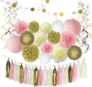 LITAUS Pink and Gold Birthday Decorations, Pom Poms Flowers, Paper Garland, Paper Lantern, Tassels, Hanging Swirl for 1st Birthday Girl Decorations Kids Birthday Bridal Shower Baby Shower