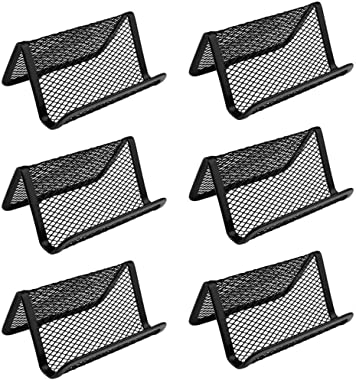 AKIRO 6 Pcs Black Metal Mesh Business Card Holder, Credit Name Card Case,Office Card Collection Organizers