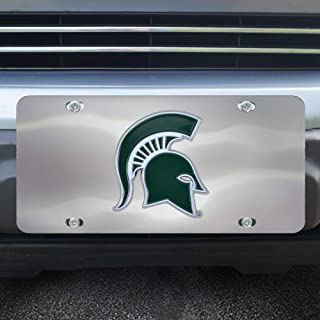 FANMATS NCAA Michigan State Spartans Die Cast License Platedie Cast License Plate, Chrome, 6