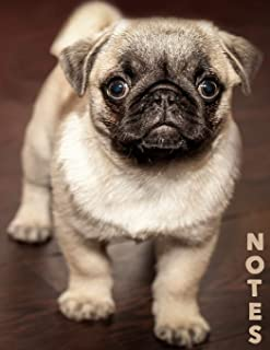 Notes: College Ruled Notebook   120 Lined Pages   Large, 8.5 x 11 Inches   Journal, Diary, Subject Composition Book With A Cute Adorable Pug Puppy Dog Sitting On A Classic Wooden Floor Cover