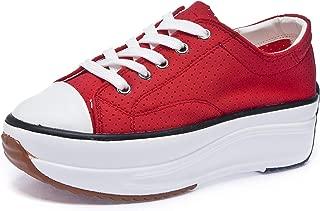 Sokaly Women's Platform Low Top Sneakers Lace Up Pump Shoes Fashion Sneakers Tennis Walking Shoes