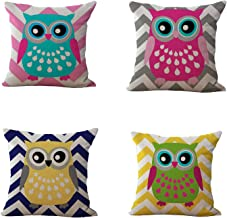 Uther Throw Pillow Case Square Decorative Cute Owl Pillow Cases Couch Covers for Home Set of 4 18 x 18 Inch