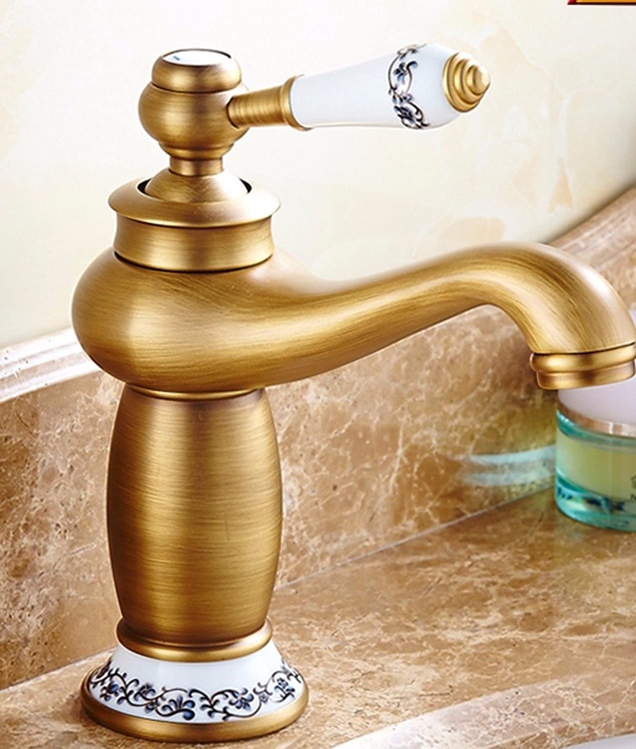 AWXJX European Style Retroot And Coldouble Handle Single Hole Washbasinll Copper Sink Faucet T