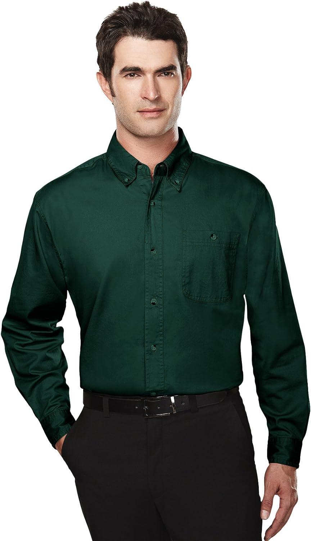 Tri-mountain Mens cotton long sleeve twill shirt. 810TM - FOREST GREEN_6XL
