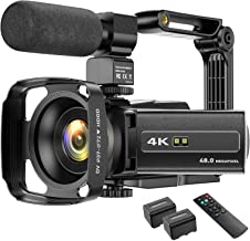 4K Video Camera Camcorder 48MP UHD WiFi IR Night Vision YouTube Vlogging Camera 3'' 270°Rotation Touch Screen 16X Digital ...