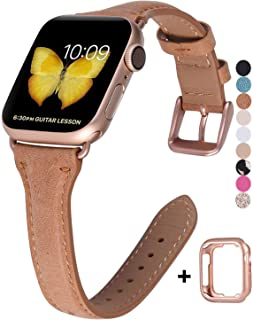 JSGJMY Genuine Leather Band Compatible with Apple Watch 38mm 40mm 42mm 44mm Women Slim Thin Strap for iWatch Series 5/4/3/2/1 (Brown with Series 5/4/3 Rose Gold Clasp, 38mm/40mm S/M)