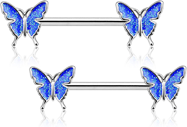 JEWSEEN Nipple Barbell 14g Nipple Piercing Butterfly Nipple Jewelry Nipple Ring Bar Body Piercing Jewelry