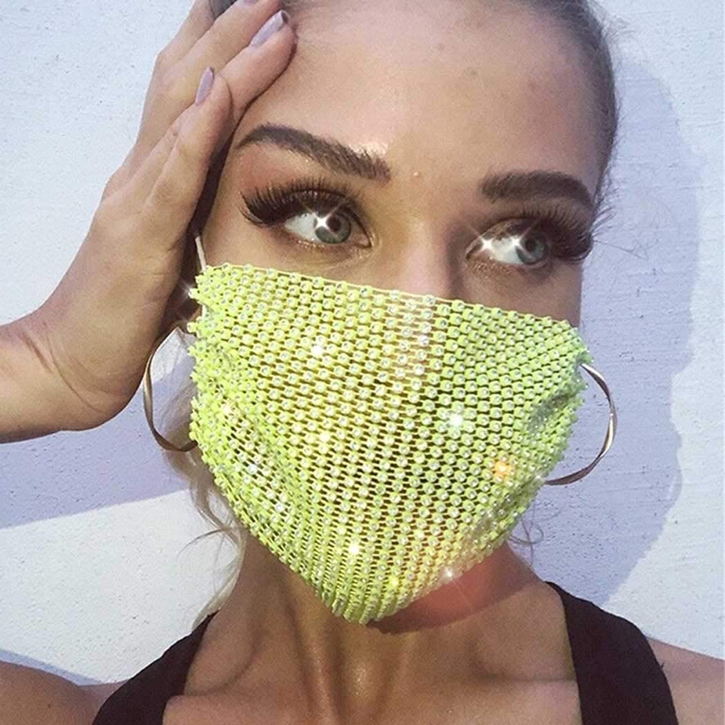Woeoe Crystals Mesh Mask Yellow Bling Rhinestones Covering Face Masks Nightclub Party Masquerade for Women and Girls