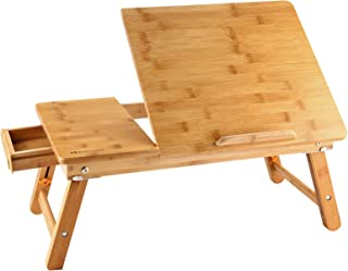 Lapdesk Left Handed NNEWVANTE Adjustable Laptop Table for Bed Breakfast Serving Tray Fold Flat w' Tilting Top Drawer Leg Lock