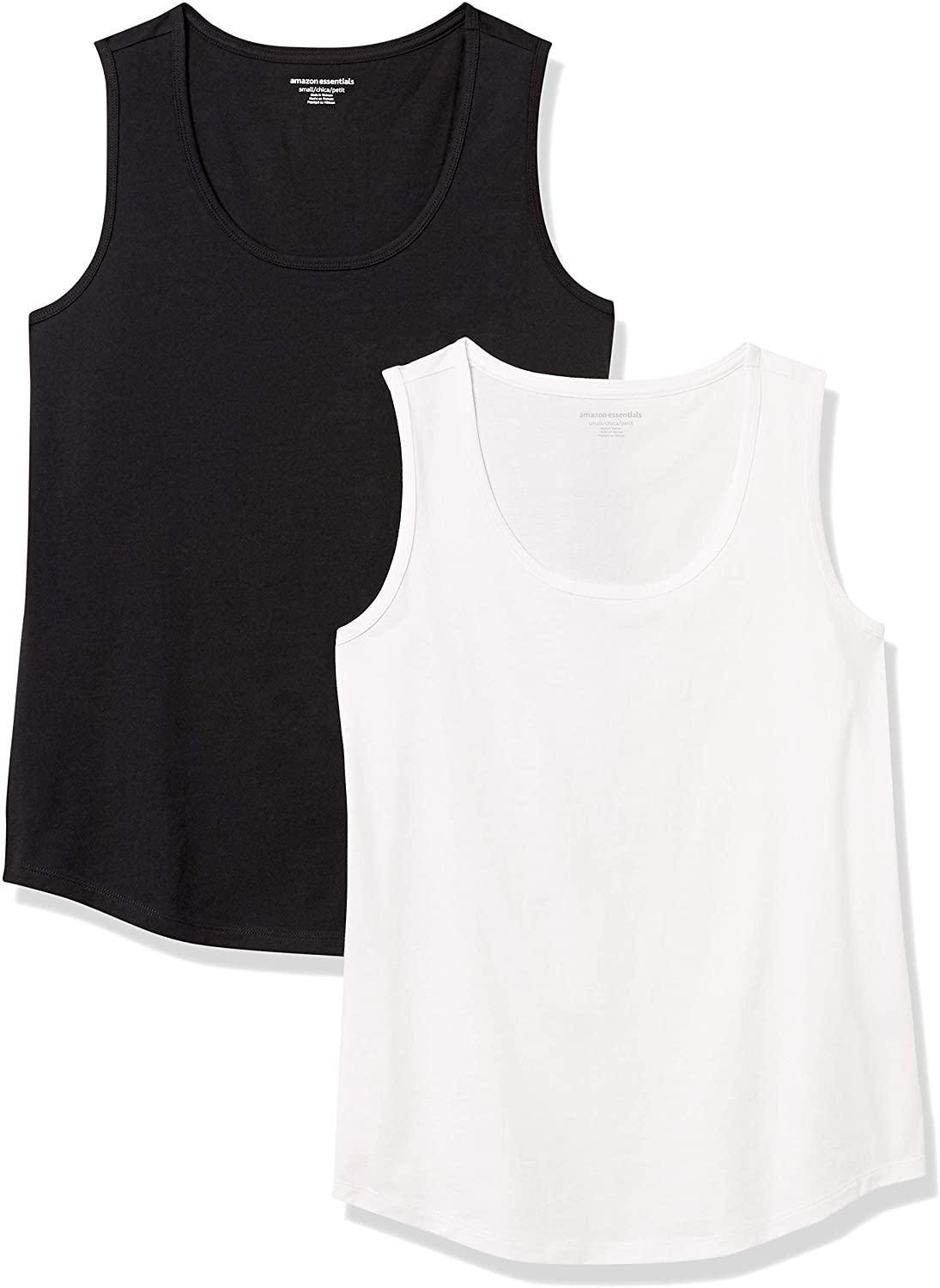 Amazon Essentials Women's 2-Pack Classic Fit 100% Cotton Sleeveless Tank Top