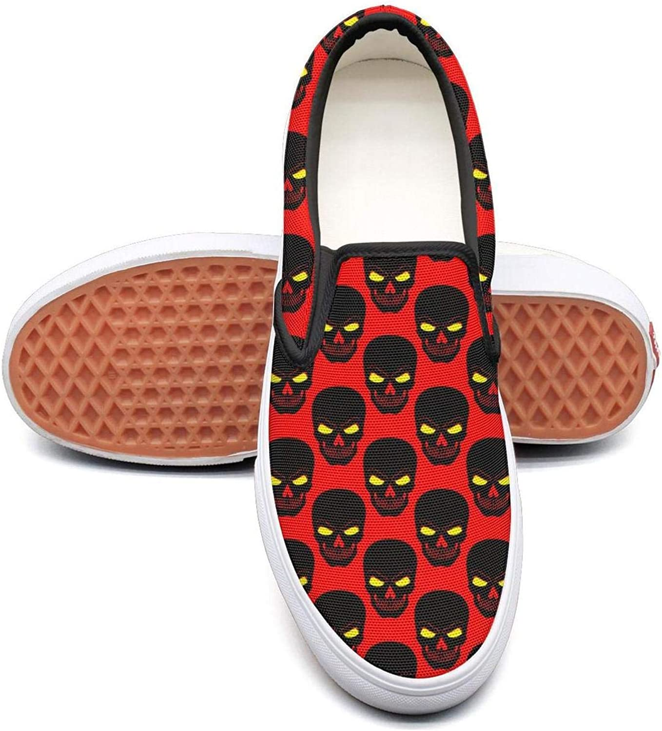 Angrily Skulls Slip On Superior Comfort Loafers Canvas shoes for Women Round Toe