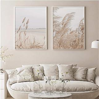 QIAOZ Art Mural, bohême Toile Affiche Automne Natrue Plante Herbe Impression désert Paysage Impression Beige Citations Pho...