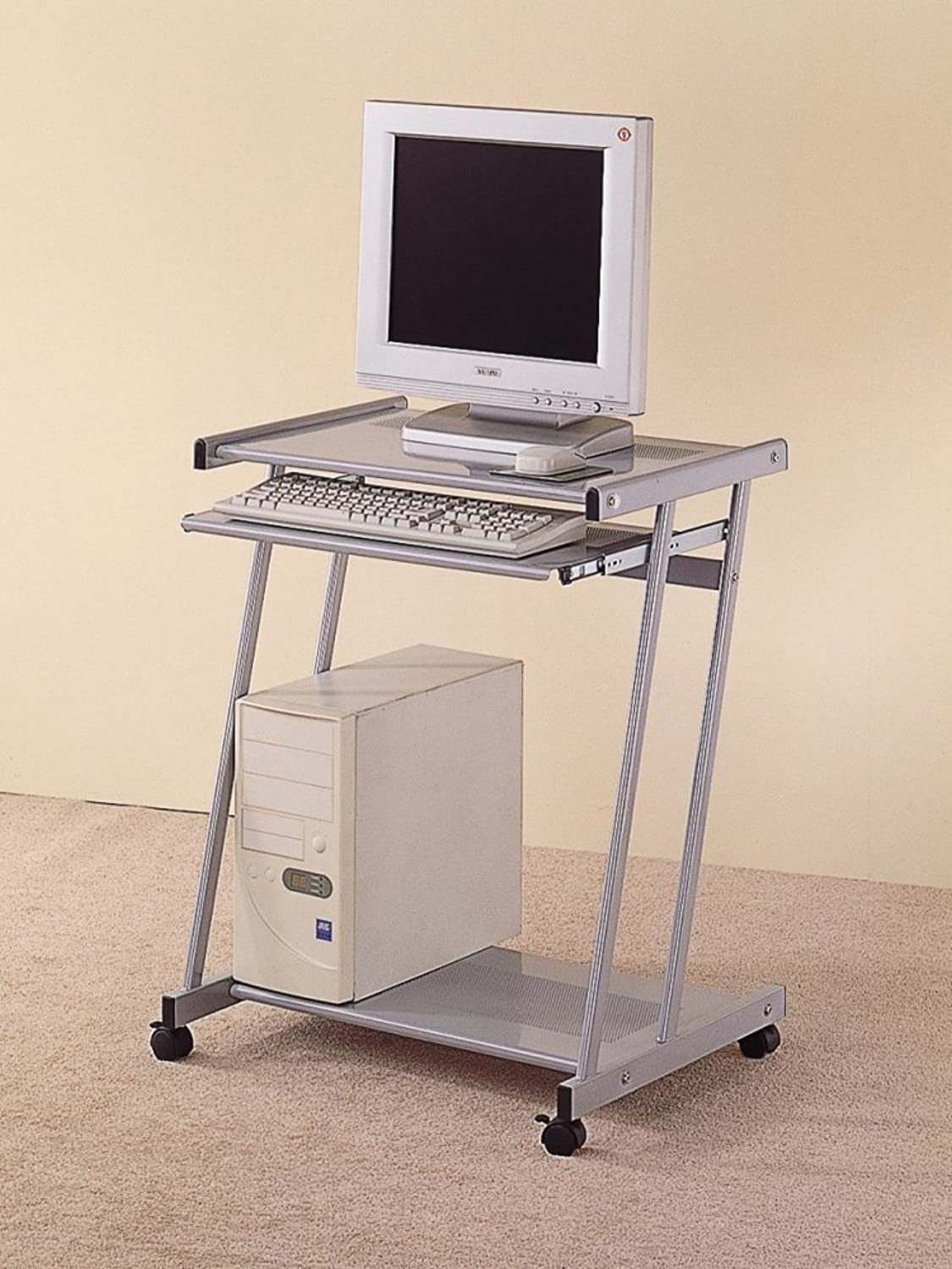 Coaster Home Furnishings Contemporary Computer Workstation Office Desk Table, Silver Finish
