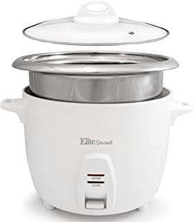 Maxi-Matic Elite Gourmet ERC-2010 Electric Rice Cooker with Stainless Steel Inner Pot Makes Soups, Stews, Grains, Cereals, Keep Warm Feature, 10 Cooked (5 Cups Uncooked), White