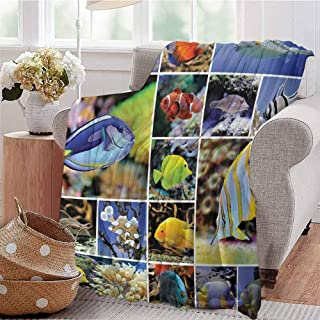 SSKJTC Soft Lightweight Blanket Collage of Underwater Photos with Collection of Tropical Fish Decorating Art Print Blue Yellow Dorm Bed Baby Cot Traveling Picnic W57 xL74
