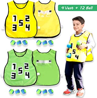 Hiverst Dodgeball Adhesive Vest Tag Game for Kids Adults, Catch Toss Soft Ball Throwing Target Game Vests, Outdoor Party Running Field Day Activities with 4 Vests + 12 Dodgeball