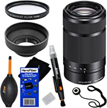 Sony E 55-210mm f/4.5-6.3 OSS E-Mount Telephoto Zoom Lens - Black - International Version (No Warranty) for a3000, a5000, a5100, a6000, Alpha NEX-3, NEX-3N, NEX-5N, NEX-5R, NEX-5T, NEX-6, NEX-7 & NEX-F3 Digital Cameras, NEX-VG30, NEX-VG30H & NEX-VG900 Interchangeable Lens Camcorders + 6pc Bundle Accessory Kit w/ HeroFiber Ultra Gentle Cleaning Cloth