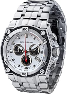 CALABRIA - RAFFINATO - White & Black Dial Chronograph Mens Watch with Carbon Fiber Bezel and