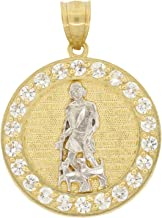 Men's 10k Two Tone Gold Round Cut Cubic Zirconia Saint Roch Roque Pendant, 1.50