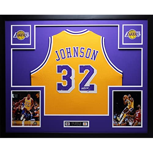 17733b6b0b1 Magic Johnson Autographed Gold Lakers Jersey - Beautifully Matted and Framed  - Hand Signed By Magic