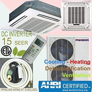 Pioneer 8-Way Ceiling Cassette Mini Split Inverter Air Conditioner with Heat Pump, 36000 BTU (3 Ton) Full Set