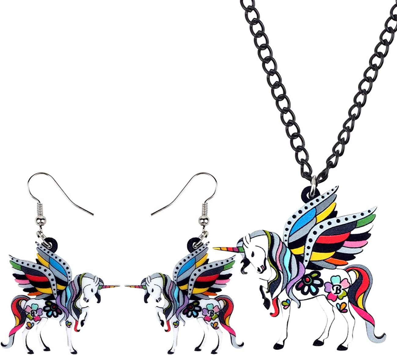 DUOWEI Phoenix Mall Acrylic Floral Flying Popularity Horse Earrings Jewelry Unicorn Sets