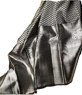 Kabir Fabrics Women's vivera's kanchi pattu Soft Silk kanchipuram Saree with Blouse(black Colour)