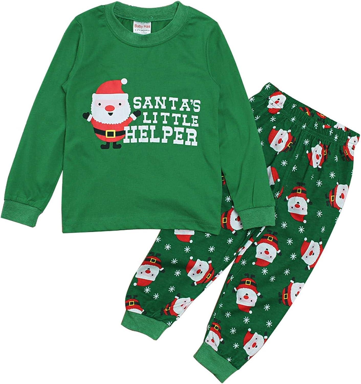 MODNTOGA Toddler Kids Girls Boys Christmas Cotton Pajama Set Santa Reindeer Print Long Sleeve Sleepwear PJS