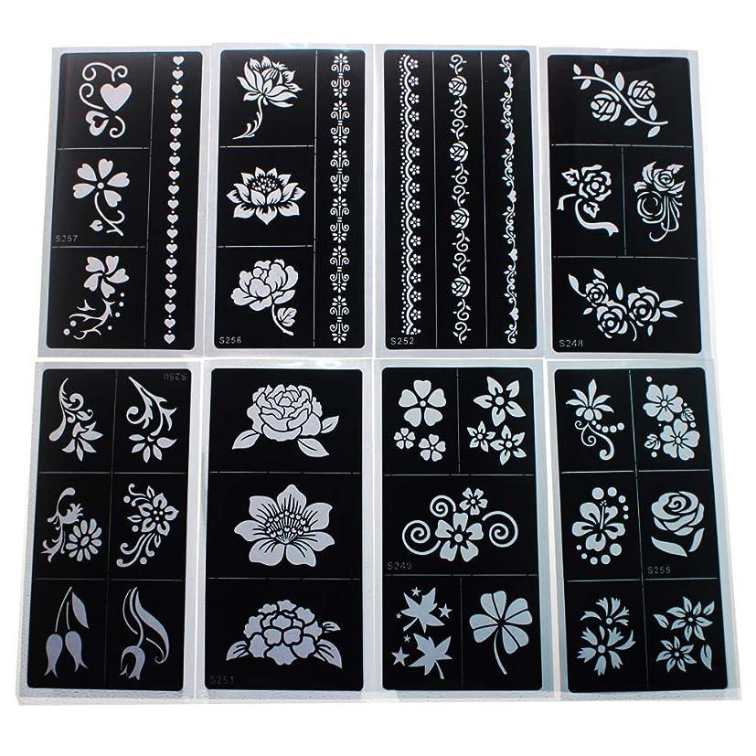 読書をする会議独立した【10枚セット】 花柄のタトゥーシール ヘナタトゥー ヘナコーンのヘナタトゥー用のステンシル 接着剤付き 17.5 x 8.5cm
