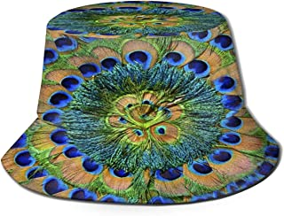 Fisherman Hat Colorful Peacock Feathers Sun Hat Women Men Eye Protect Breathable Bonnie Cap 3D Printed Beach Hat Durable&Reversible for Summer Outdoor