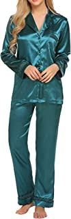 Women's Satin Pajamas Set Long Sleeve Pajamas for Women Button Down Pj Set S-XXL
