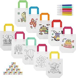 Hifot Kids Coloring Party Bags 10 Style, Color Your Own Non-Woven Gift Bag Reusable Tote Bags with Handles Children Party Favor Treat Bag, 2422cm, 6 Colors Pen, Gem Sticker